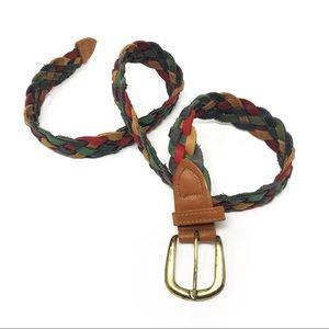Vintage Braided Belt Genuine Leather Multicolor L